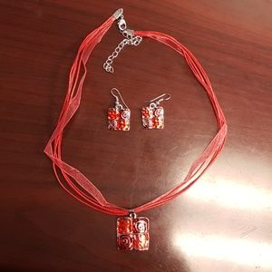 Jewelry - 💕2 FOR $15💕 Red Necklace and Earring Set